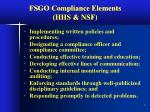 fsgo compliance elements hhs nsf