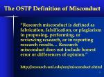the ostp definition of misconduct