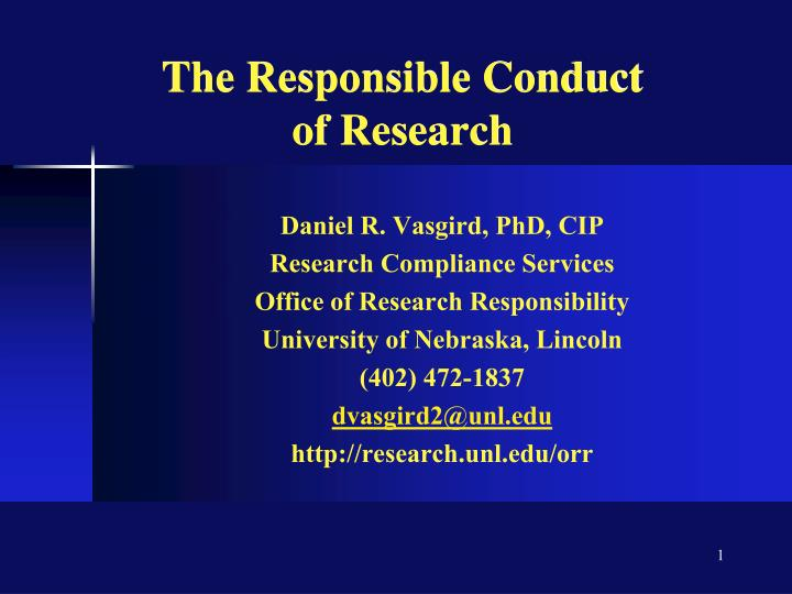the responsible conduct of research n.