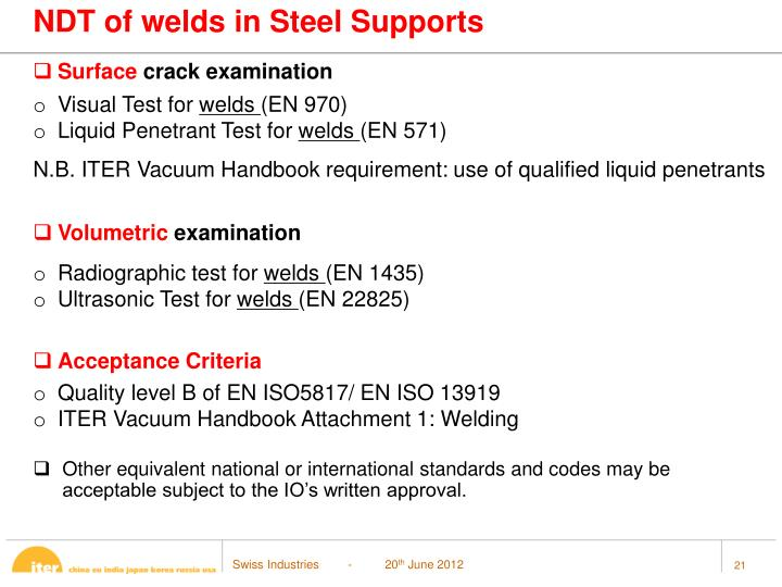 NDT of welds in Steel Supports