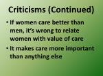 criticisms continued