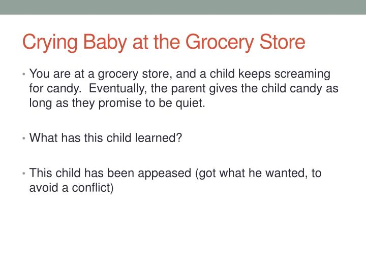 crying baby at the grocery store n.