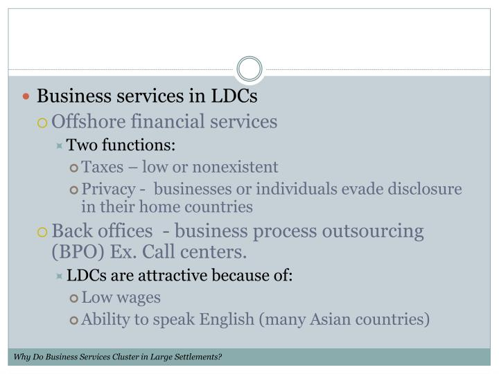 Business services in LDCs