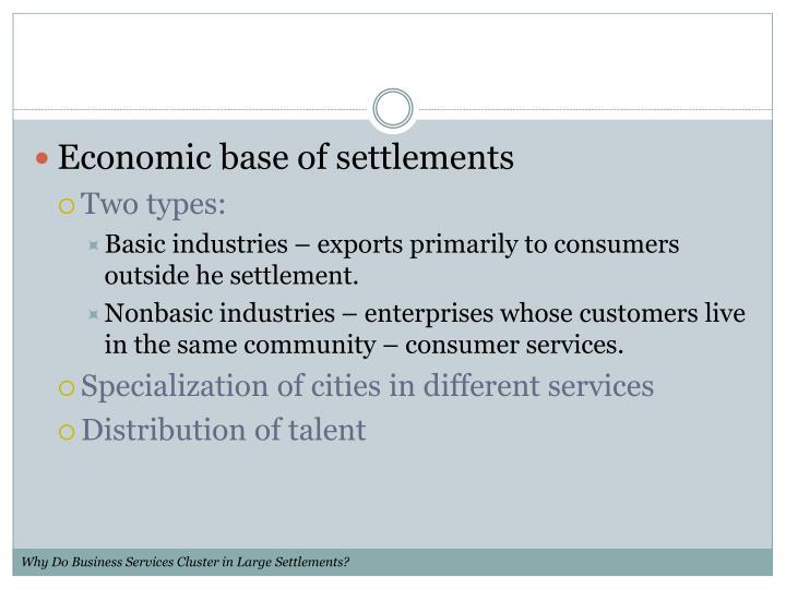 Economic base of settlements