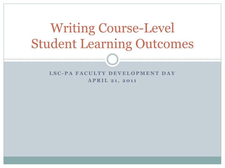 writing course level student learning outcomes n.