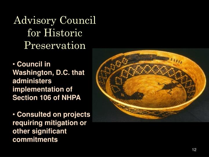 Advisory Council for Historic Preservation