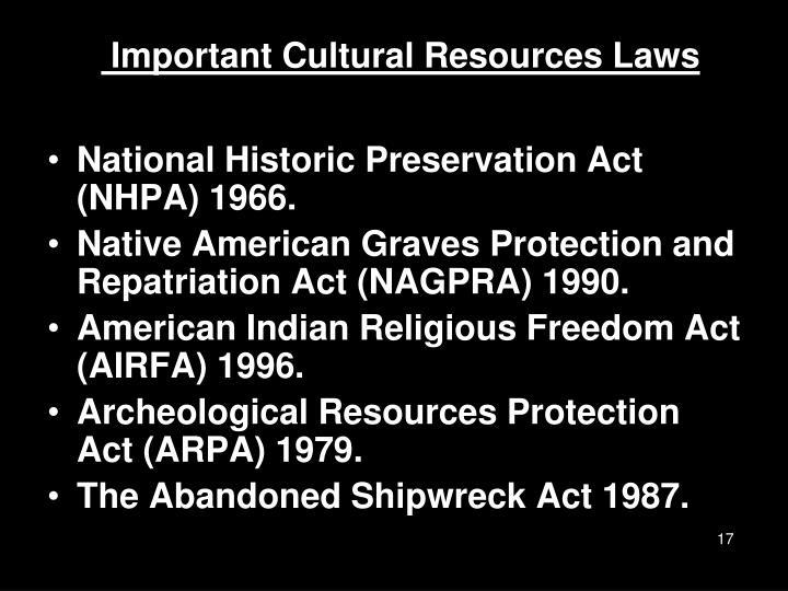 Important Cultural Resources Laws