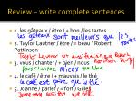 review write complete sentences