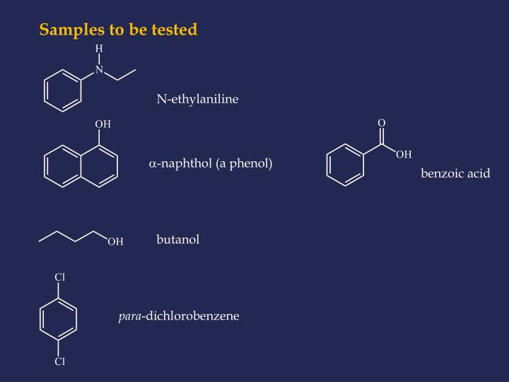 Samples to be tested