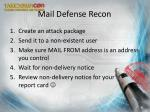 mail defense recon