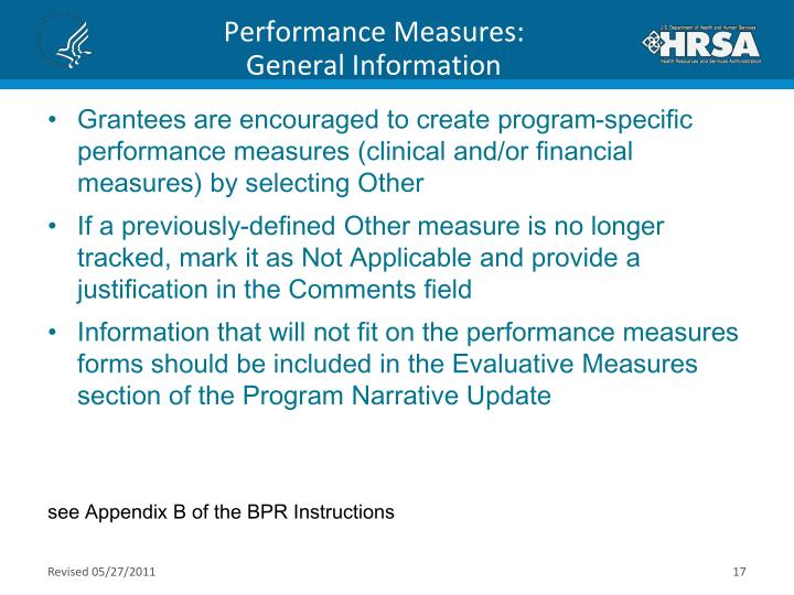 Performance Measures: