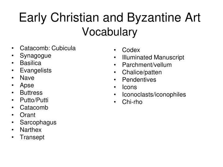 early christian and byzantine art vocabulary n.