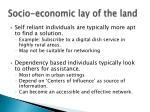 socio economic lay of the land