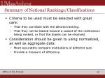 summary of national rankings classifications