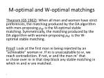 m optimal and w optimal matchings1
