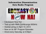 information dissemination thru radio program