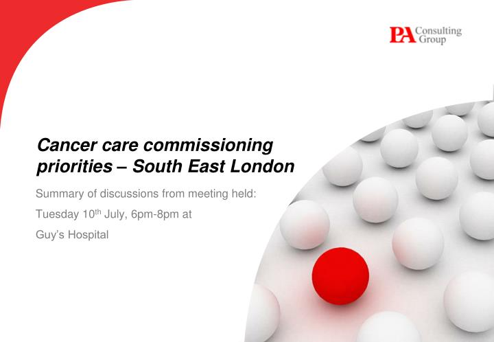 cancer care commissioning priorities south east london n.