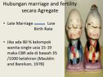 hubungan marriage and fertility secara agregate