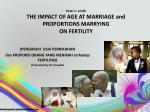 peter c smith the impact of age at marriage and proportions marrying on fertility