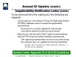 annual ei update cont inapplicability notification letter cont