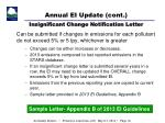 annual ei update cont insignificant change notification letter