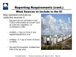 reporting requirements cont what sources to include in the ei