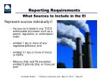 reporting requirements what sources to include in the ei