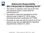 submission responsibility who is responsible for submitting the ei