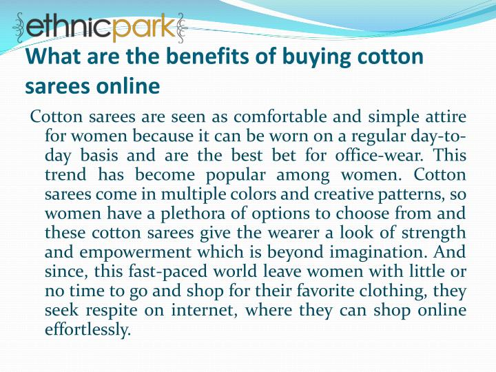 what are the benefits of buying cotton sarees online n.