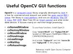 useful opencv gui functions