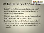 ot texts in the new re curriculum