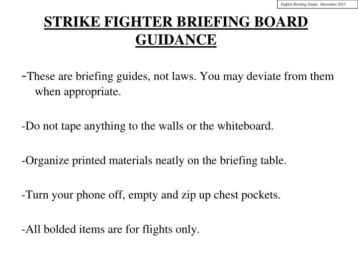 strike fighter briefing board guidance n.