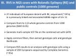 iii rvs in ngs cases with rolandic epilepsy re and public controls 1000 genome
