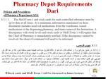 pharmacy depot requirements dari