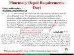 pharmacy depot requirements dari2