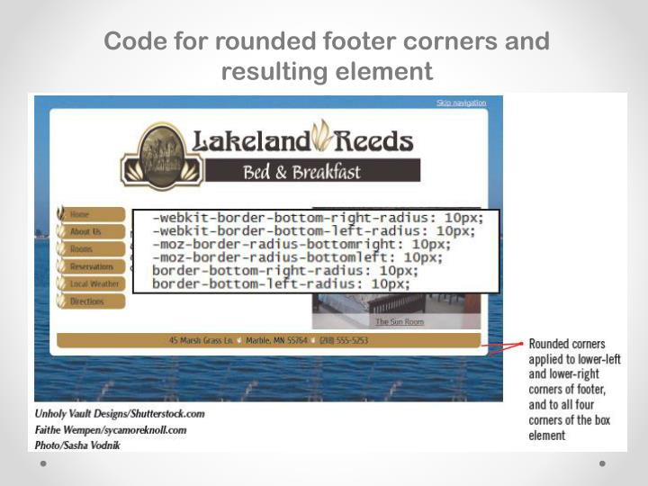 Code for rounded footer corners and resulting element