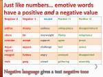 just like numbers emotive words have a positive and a negative value
