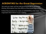 acronyms for the great depression