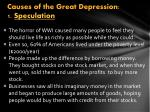 causes of the great depression 1 speculation