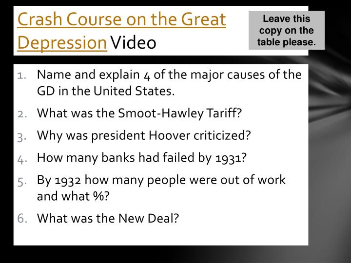 Crash Course on the Great Depression