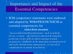 importance and impact of the essential competencies