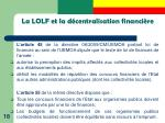 la lolf et la d centralisation financi re