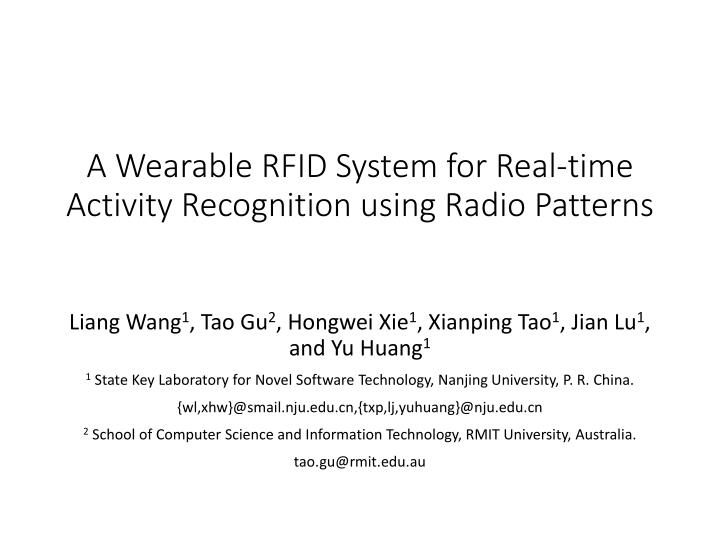 a wearable rfid system for real time activity recognition using radio patterns n.