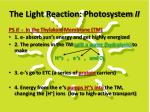the light reaction photosystem ii