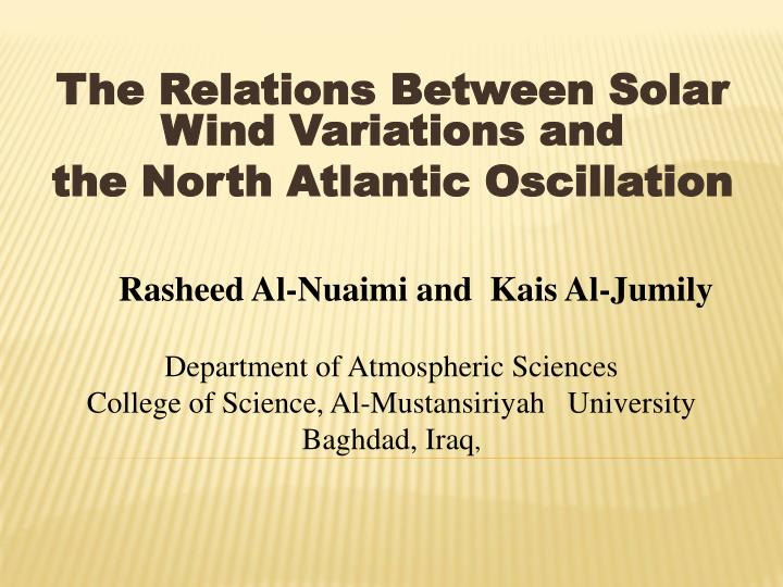 the relations between solar wind variations and the north atlantic oscillation n.