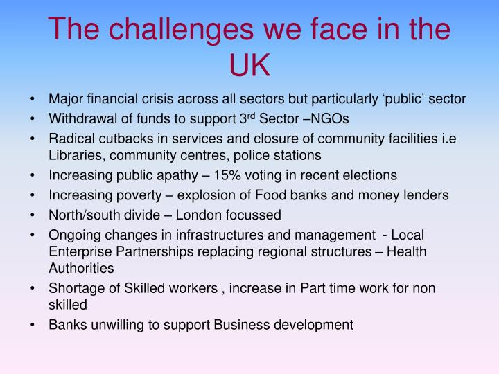 The challenges we face in the UK