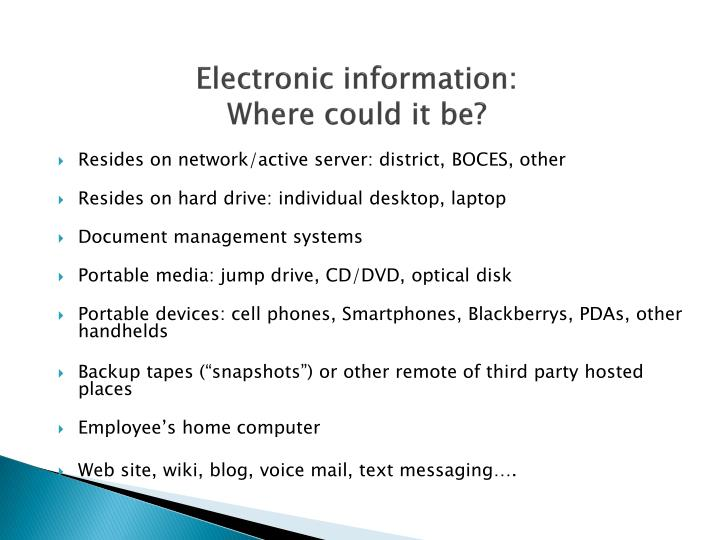 Electronic information:
