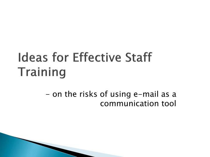 Ideas for Effective Staff Training