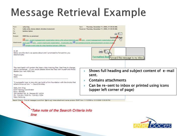Message Retrieval Example
