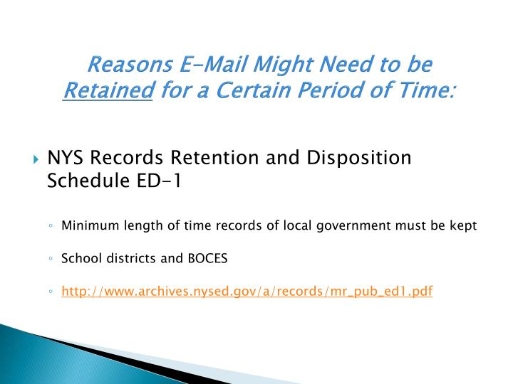 Reasons E-Mail Might Need to be
